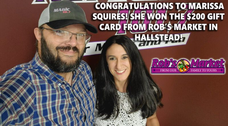 Marissa Squires WINS $200 Gift Card!